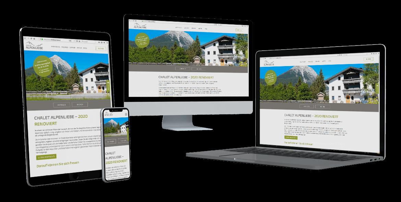 Chalet Alpenliebe Webseite Relaunch verschiedene Devices