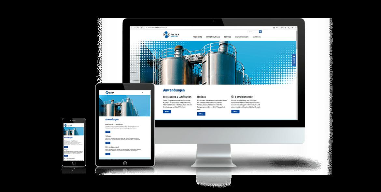 R + B Filter Webseite Gestaltung